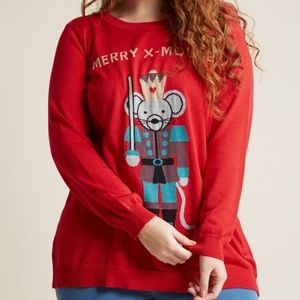 Modcloth Christmas Character Mouse Knit Sweater 2X